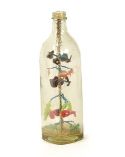 Antik sklenená fľaša so stromom života, 7x7x26cm