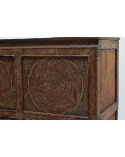 Ručne maľovaná drevená antik komoda z Tibetu, 156x42x96cm