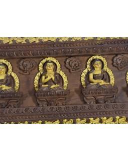 Drevený panel, Päť Dhjánibuddhů, ručne vyrezávaný, pozlátený, 73x25cm