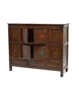 Ručne maľovaná drevená antik komoda z Tibetu, 126x43x105cm
