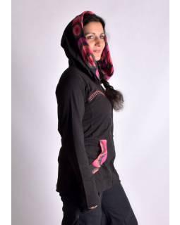 Čierno-ružová mikina s kapucňou zapínaná na zips, vrecká, potlač a výšivka