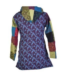 Kabátik v multifarebnom patchworkovom prevedení s kapucňou, zapínanie na zips, vrecká