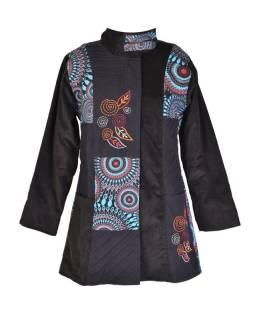 Čierno-modrý Manšestrové kabátik, Mandala tlač a výšivka, zapínanie na zips
