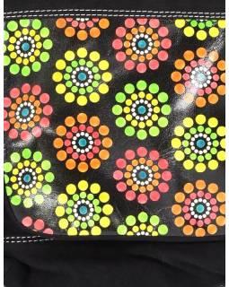 "Kabelka, ,, Dots flower "", čierna, kože a bavlna, 30x30cm"