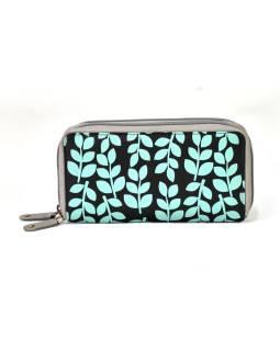 """Veľká kožená peňaženka """"Stem leaves, čierna, 20x11cm"""