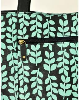 """Kožená kabelka ,, Stem leaves """", čierno-tyrkysová, 40x30cm"""