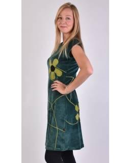 Krátke zamatové petrolejovej šaty krátkym rukávom, aplikácia farebné kvety