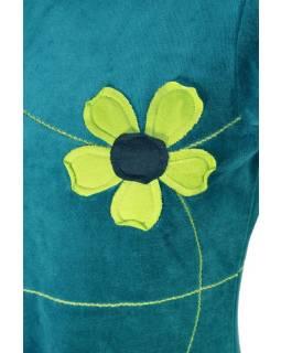 Krátke zamatové petrolejovej šaty s krátkym rukávom, aplikácia farebné kvety