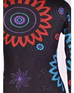 Čierno-tyrkysové šaty s dlhým rukávom, Flower Mandala potlač