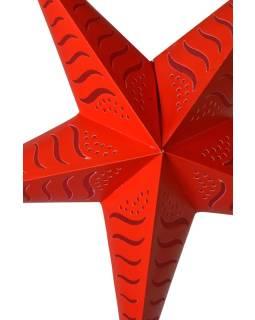 """Červený papierový lampión hviezda """"Stripes"""", prestrihy, 5 cípov, 60cm"""