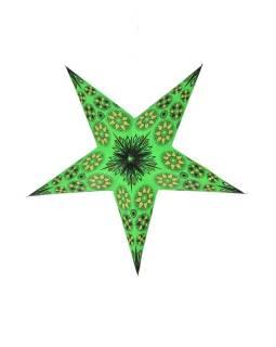 Vianočná hviezda, papierový lampión, zeleno-žltý, päť cípov, 60cm
