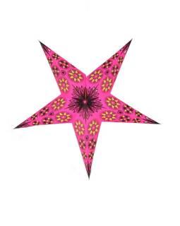 Vianočná hviezda, papierový lampión, ružovo-žltý, päť cípov, 60cm