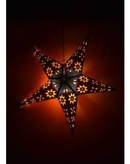 Vianočná hviezda, papierový lampión, modro-oranžový, päť cípov, 60cm
