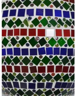 Sklenená oválna mozaiková lampa, červeno-zeleno-modrá, ručné práce, 25x40cm