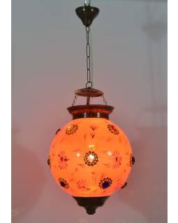 Guľatá sklenená lampa zdobená farebnými kameňmi, ružová, ručné práce, 25x35cm