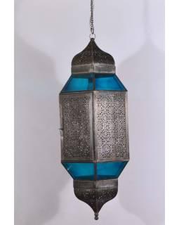 Veľká presklená lampa v orientálnom štýle, tyrkysová, ručné práce, cca 32x80cm