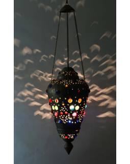 Antik lampa v orientálnom štýle s farebnými kameňmi, ručné práce, cca 30x60cm
