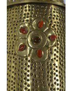 Mosadzná tepaná lampa v orientálnom štýle s farebnými kameňmi, ručné práce, 20x50