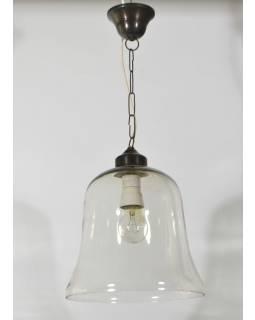 Sklenená závesná lampa, číre sklo, 25x27cm