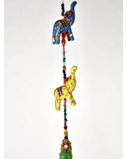 Dekorácia na zavesenie, desať slonov sa zvončekom, dĺžka 135cm