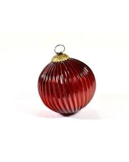 Sklenená vianočná ozdoba, tvar gule, červená, 11x11cm