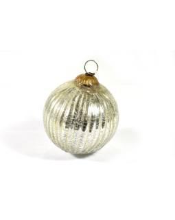 Sklenená vianočná ozdoba, tvar gule, biela, 11x11cm
