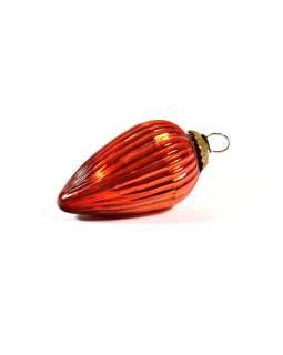 Sklenená vianočná ozdoba, tvar šiška, oranžová, 12x7cm