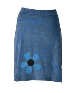 Krátka šedá zamatová sukňa, aplikácia farebné kvety
