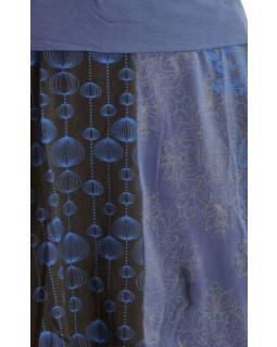 Krátka balónová sukňa s potlačou, čená-fialová, elastický pás