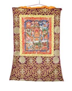 Tanka, život Budhu, fialový brokát, 55x82cm
