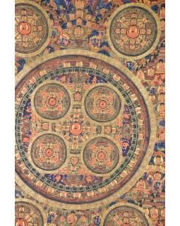 Tanka, Buddha mandala, čierny brokát, 93x148cm