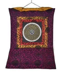 Tanka, Mandala, uprostred Om, vínový brokát, 49x65cm