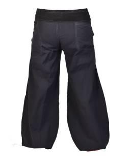 Dlhé čierne balónové nohavice s manžestrom, zips a gombíky, výšivka, vrecká