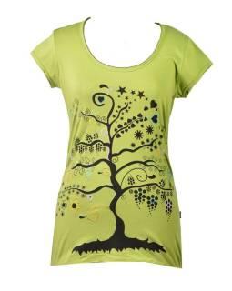 """Zelené tričko s krátkym rukávom a čiernym potlačou """"Tree"""" dizajn"""