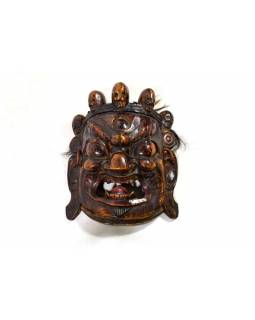 Drevená maska, Bhairab, antik patina, 29x32cm