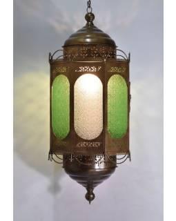 Osemboká kovová presklená lampa v orientálnom štýle, 95cm