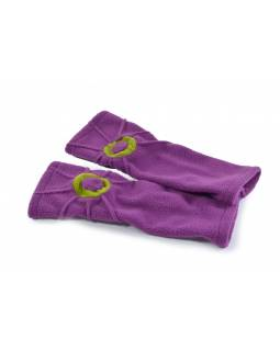 Fialové fleecové rukavice - návleky s prešívaním