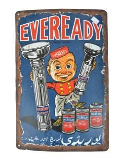 "Kovová antik reklamné cedule na stenu, ""Eveready Flash Light"", 30,5x45,5cm"
