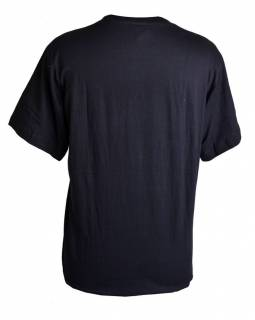 Čierne tričko s krátkym rukávom, biely potlač Ganéša
