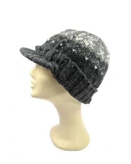 Čiapky, visor cap, šilt, vlna, podšívka, vzor vločka, šedá